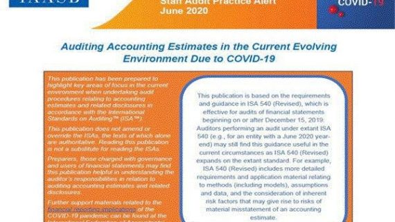 Auditing Accounting estimates in the current Evolving Environment Due to COVID-19