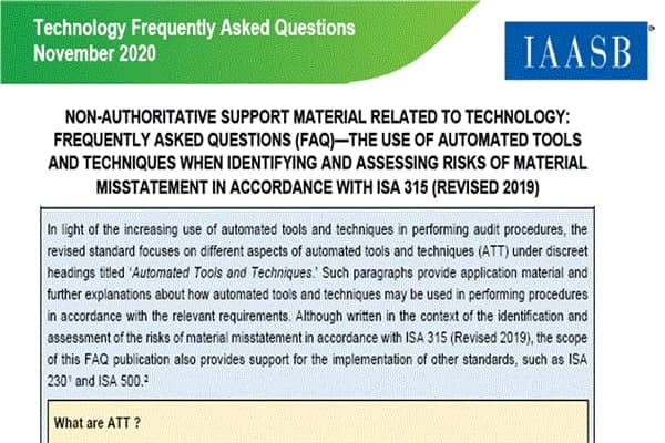 FAQ Using Automated-Tools and Techniques; ISA 315 (IAASB)